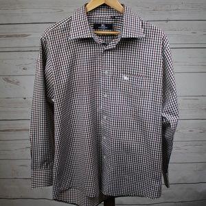 Burberry Checkered Button Down Dress Shirt